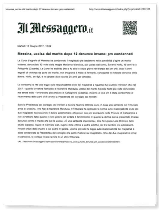Articolo di Il Messaggero.it del13/06/2017