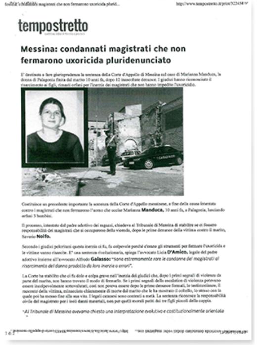 Articolo di Tempostrettoquotidiano online di Messina