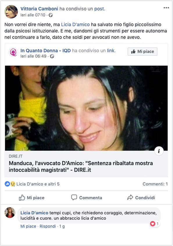 Post su FB per Avv. D'Amico