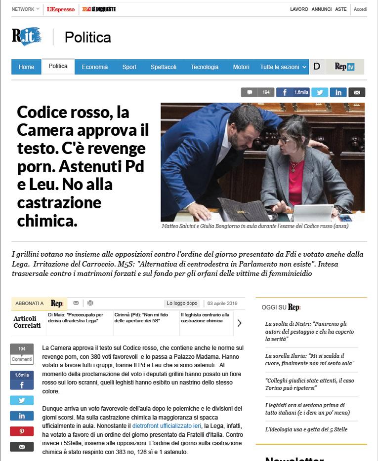 Articolo Repubblica Codice Rosso