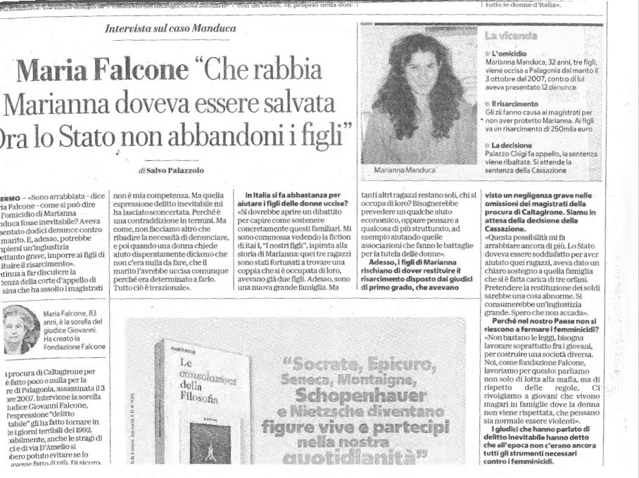 Intervista a Maria Falcone sulla vicenda di Marianna Manduca