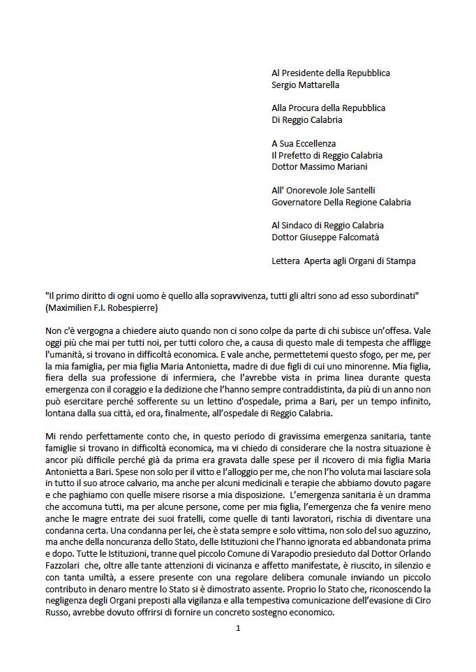 lettera del padre di Maria Antonietta Rositanii