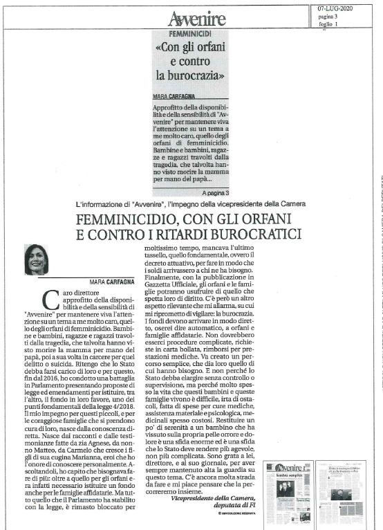 Articolo-Avvenire--Mara-Carfagna--gli-orfani-di-femminicidio-e-Carmelo-Cali